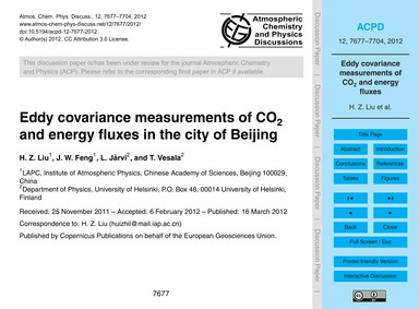 Eddy Covariance Measurements of Co2 and ... by Liu, H. Z.