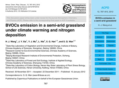 Bvocs Emission in a Semi-arid Grassland ... by Wang, H. J.