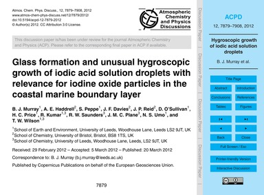 Glass Formation and Unusual Hygroscopic ... by Murray, B. J.