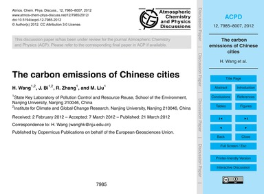 The Carbon Emissions of Chinese Cities :... by Wang, H.