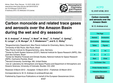 Carbon Monoxide and Related Trace Gases ... by Andreae, M. O.