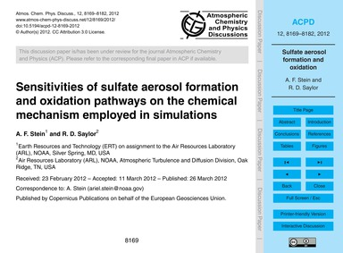 Sensitivities of Sulfate Aerosol Formati... by Stein, A. F.