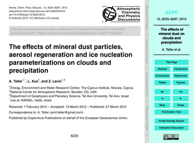 The Effects of Mineral Dust Particles, A... by Teller, A.