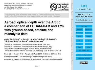 Aerosol Optical Depth Over the Arctic: a... by Von Hardenberg, J.