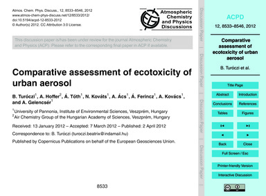 Comparative Assessment of Ecotoxicity of... by Turóczi, B.