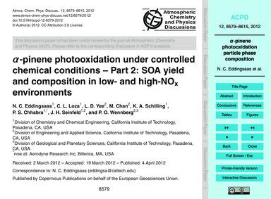 Α-pinene Photooxidation Under Controlled... by Eddingsaas, N. C.