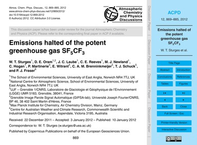 Emissions Halted of the Potent Greenhous... by Sturges, W. T.