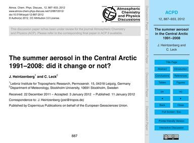 The Summer Aerosol in the Central Arctic... by Heintzenberg, J.
