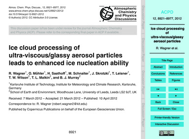 Ice Cloud Processing of Ultra-viscous/Gl... by Wagner, R.