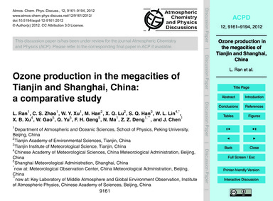Ozone Production in the Megacities of Ti... by Ran, L.