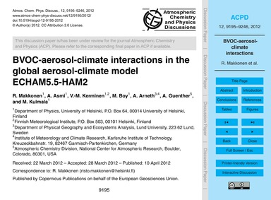 Bvoc-aerosol-climate Interactions in the... by Makkonen, R.