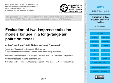 Evaluation of Two Isoprene Emission Mode... by Zare, A.