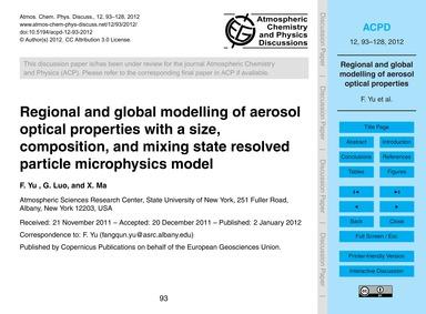 Regional and Global Modelling of Aerosol... by Yu, F.