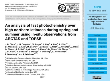 An Analysis of Fast Photochemistry Over ... by Olson, J. R.