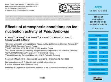 Effects of Atmospheric Conditions on Ice... by Attard, E.