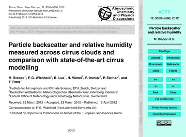 Particle Backscatter and Relative Humidi... by Brabec, M.