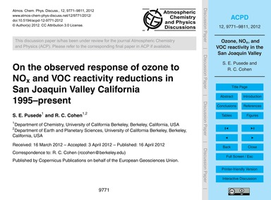 On the Observed Response of Ozone to NoX... by Pusede, S. E.