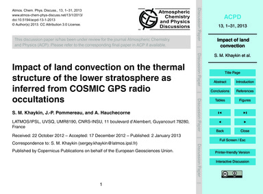 Impact of Land Convection on the Thermal... by Khaykin, S. M.