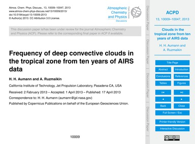Frequency of Deep Convective Clouds in t... by Aumann, H. H.