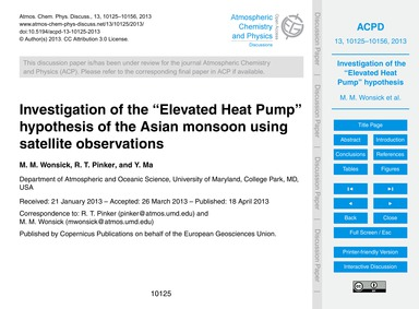 Investigation of the Elevated Heat Pump ... by Wonsick, M. M.