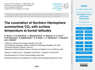 The Covariation of Northern Hemisphere S... by Wunch, D.