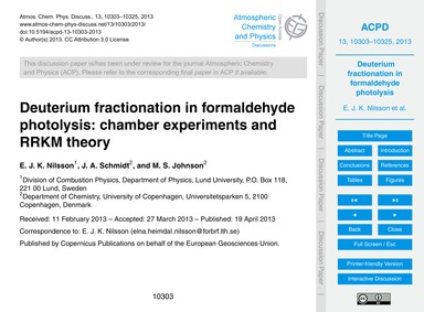 Deuterium Fractionation in Formaldehyde ... by Nilsson, E. J. K.