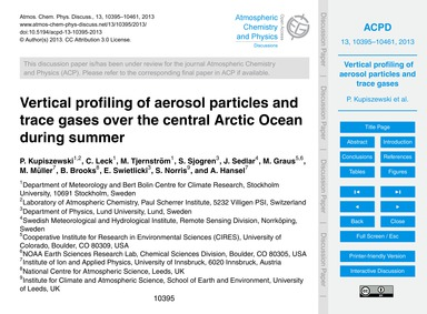 Vertical Profiling of Aerosol Particles ... by Kupiszewski, P.