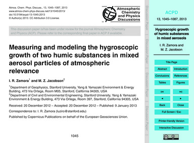 Measuring and Modeling the Hygroscopic G... by Zamora, I. R.