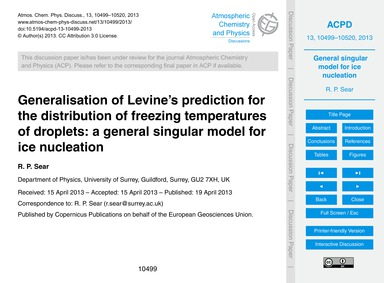 Generalisation of Levine's Prediction fo... by Sear, R. P.