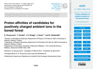 Proton Affinities of Candidates for Posi... by Ruusuvuori, K.