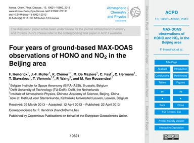 Four Years of Ground-based Max-doas Obse... by Hendrick, F.