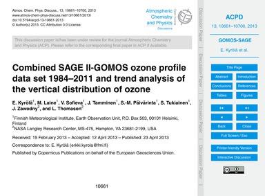 Combined Sage Ii-gomos Ozone Profile Dat... by Kyrölä, E.