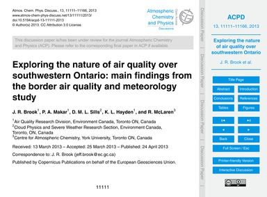 Exploring the Nature of Air Quality Over... by Brook, J. R.