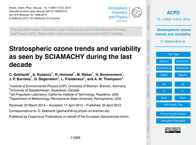 Stratospheric Ozone Trends and Variabili... by Gebhardt, C.