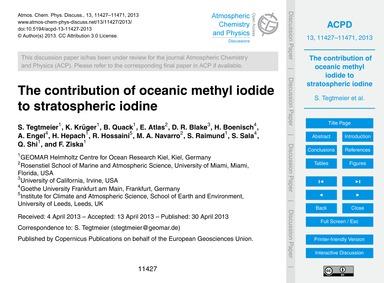 The Contribution of Oceanic Methyl Iodid... by Tegtmeier, S.