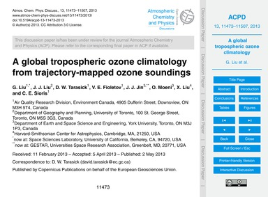 A Global Tropospheric Ozone Climatology ... by Liu, G.