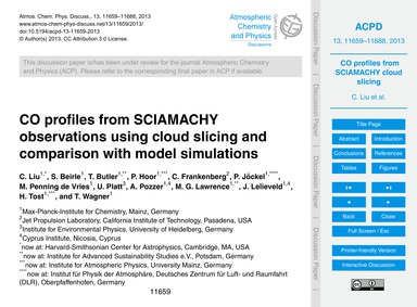 Co Profiles from Sciamachy Observations ... by Liu, C.