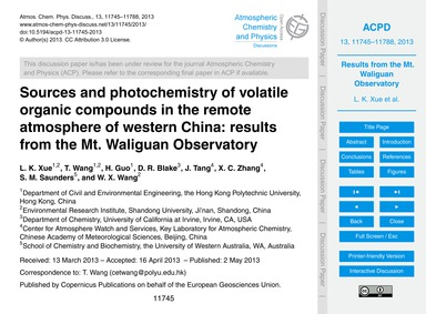 Sources and Photochemistry of Volatile O... by Xue, L. K.