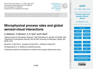 Microphysical Process Rates and Global A... by Gettelman, A.