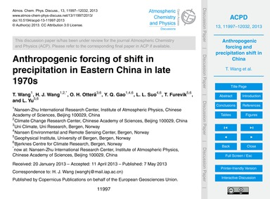 Anthropogenic Forcing of Shift in Precip... by Wang, T.