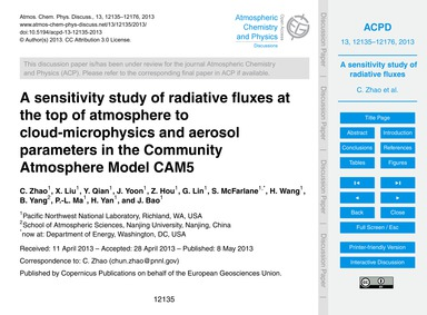 A Sensitivity Study of Radiative Fluxes ... by Zhao, C.