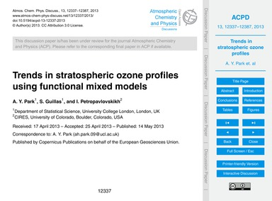 Trends in Stratospheric Ozone Profiles U... by Park, A. Y.