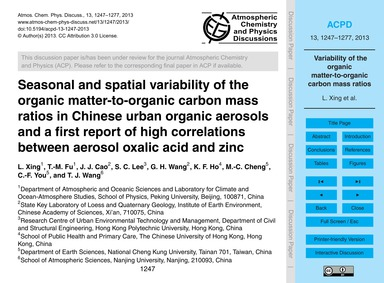 Seasonal and Spatial Variability of the ... by Xing, L.