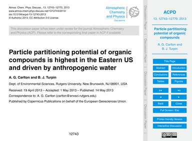 Particle Partitioning Potential of Organ... by Carlton, A. G.