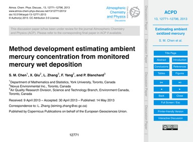 Method Development Estimating Ambient Me... by Chen, S. M.