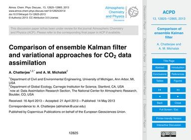 Comparison of Ensemble Kalman Filter and... by Chatterjee, A.