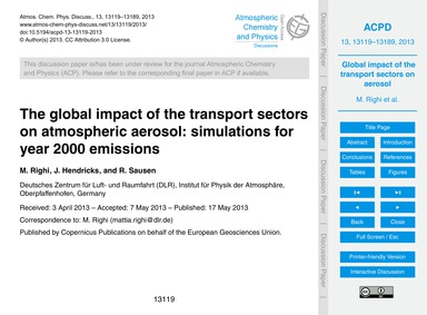 The Global Impact of the Transport Secto... by Righi, M.