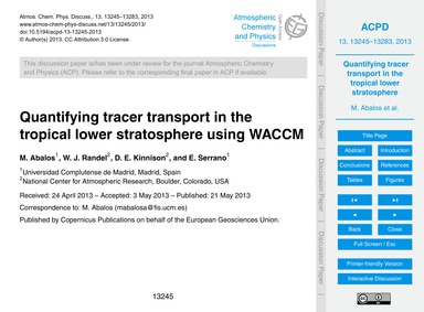 Quantifying Tracer Transport in the Trop... by Abalos, M.