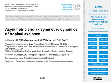 Asymmetric and Axisymmetric Dynamics of ... by Persing, J.