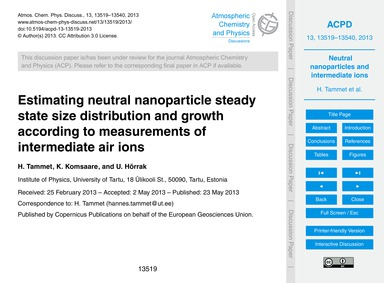 Estimating Neutral Nanoparticle Steady S... by Tammet, H.